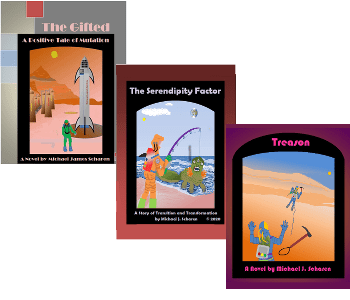 Image of three covers fanned out. The Gifted, The Serendipity Factor, and Treaon