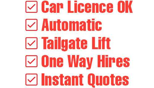 Image of features list: Car Licence OK, Automatic, Tailgate Lift, One Way Hires, Instant Quotes