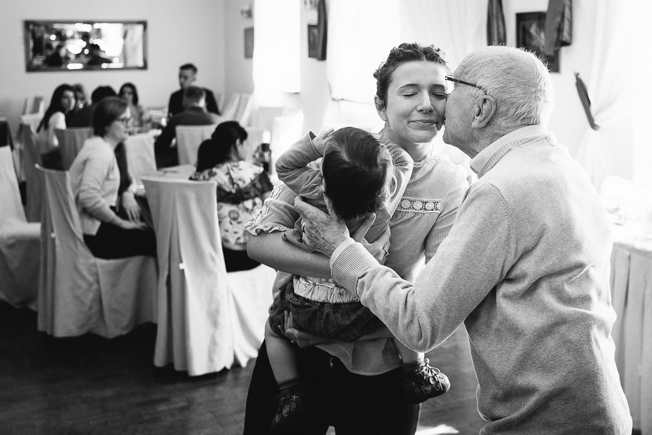 Grandpa kisses the bride
