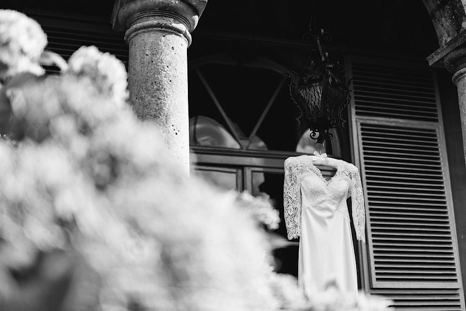 Wedding dress on the porch