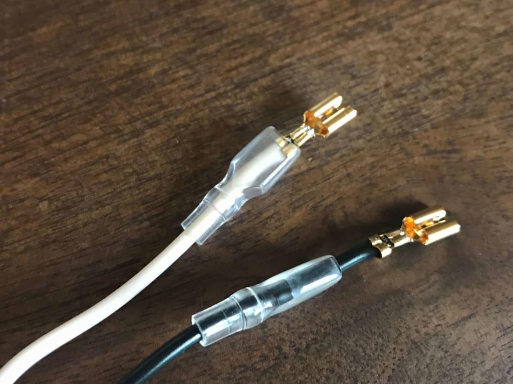 スピーカーケーブル (Belden 8470) に audio-technica TL205M を取り付けたところ