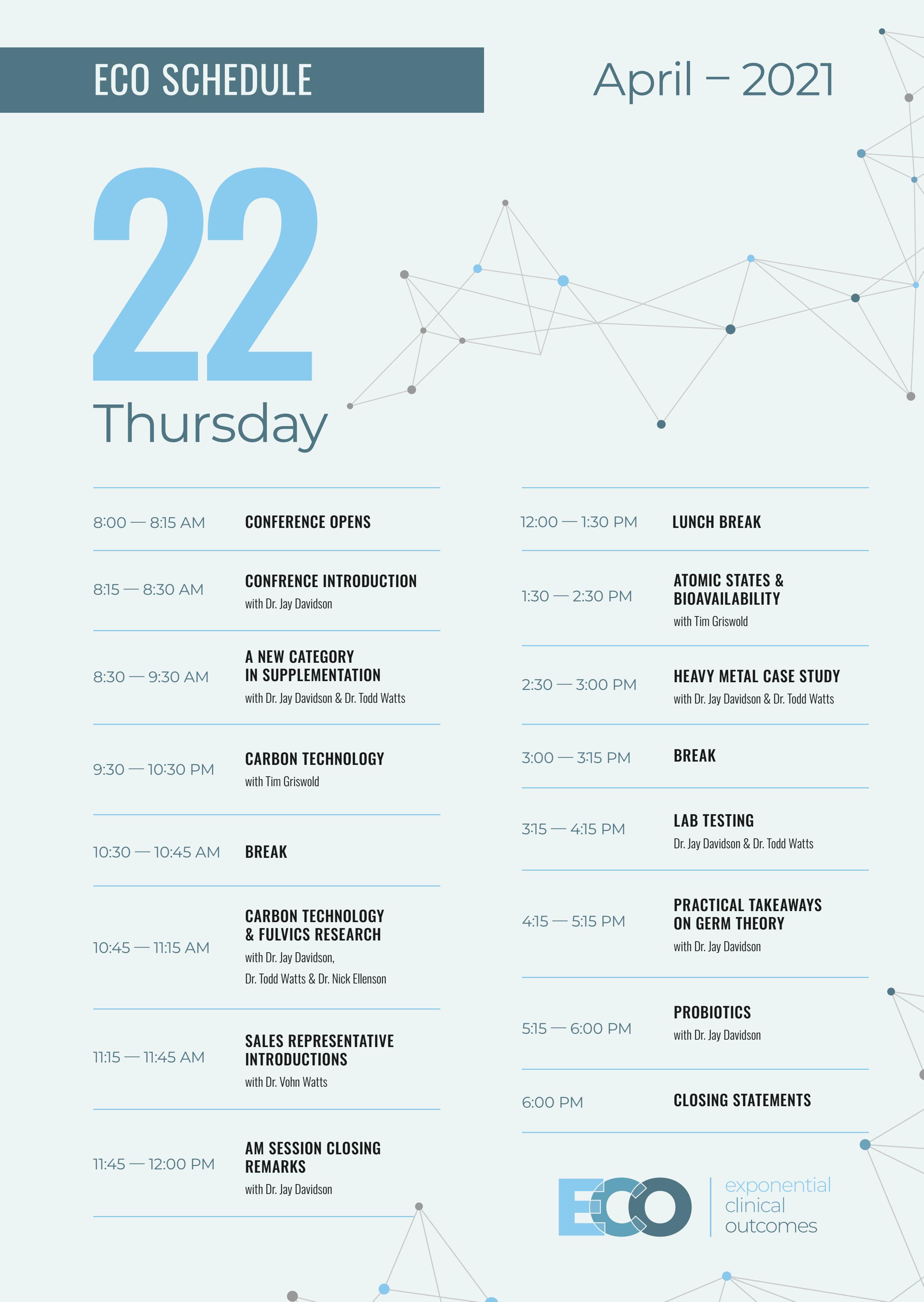 Eco Orlando 2021 Schedule