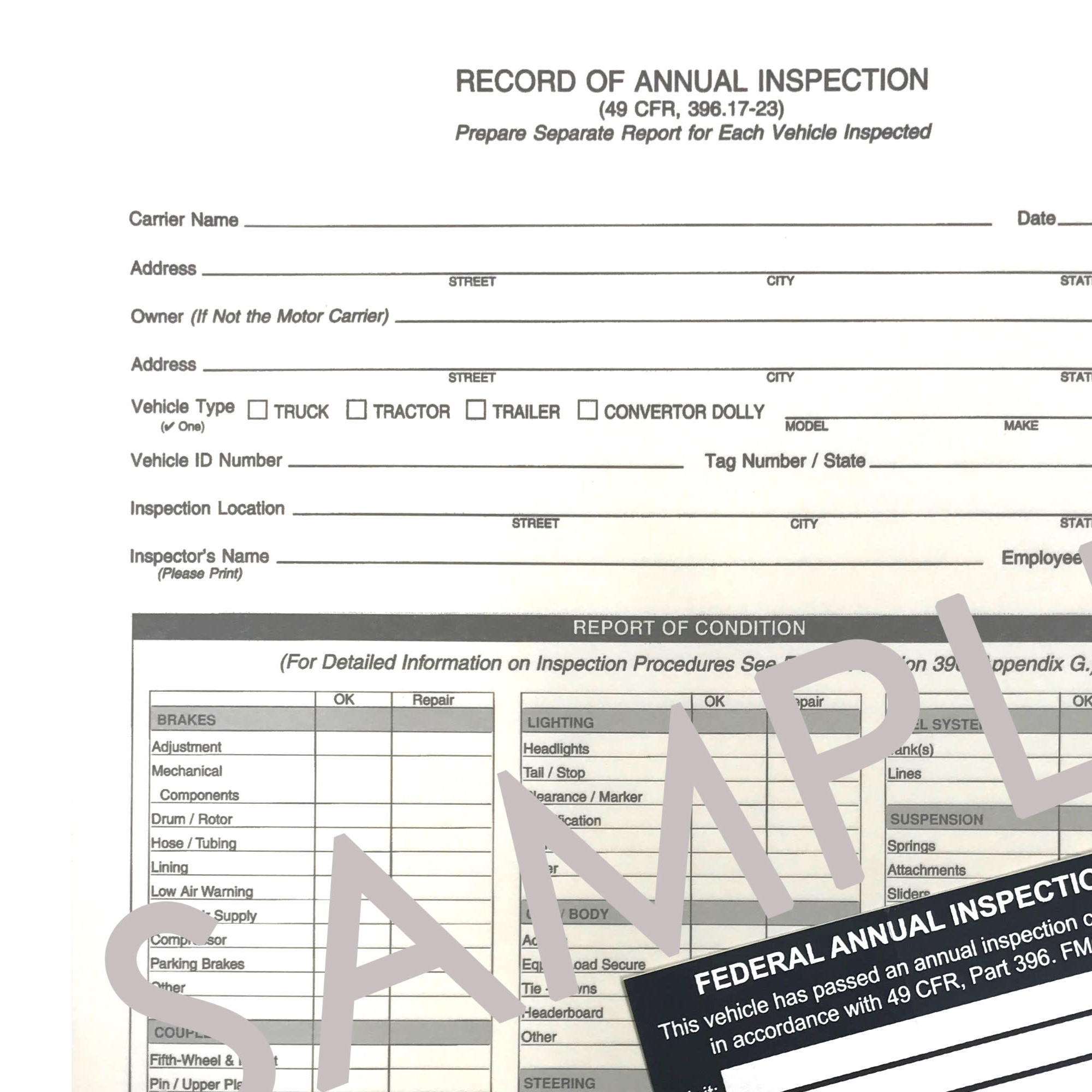 Annual Inspection Form and Decal