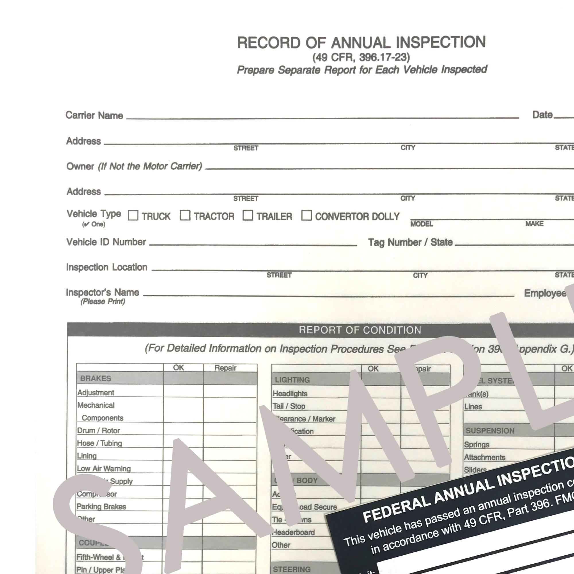 Annual Inspection Form & Decal