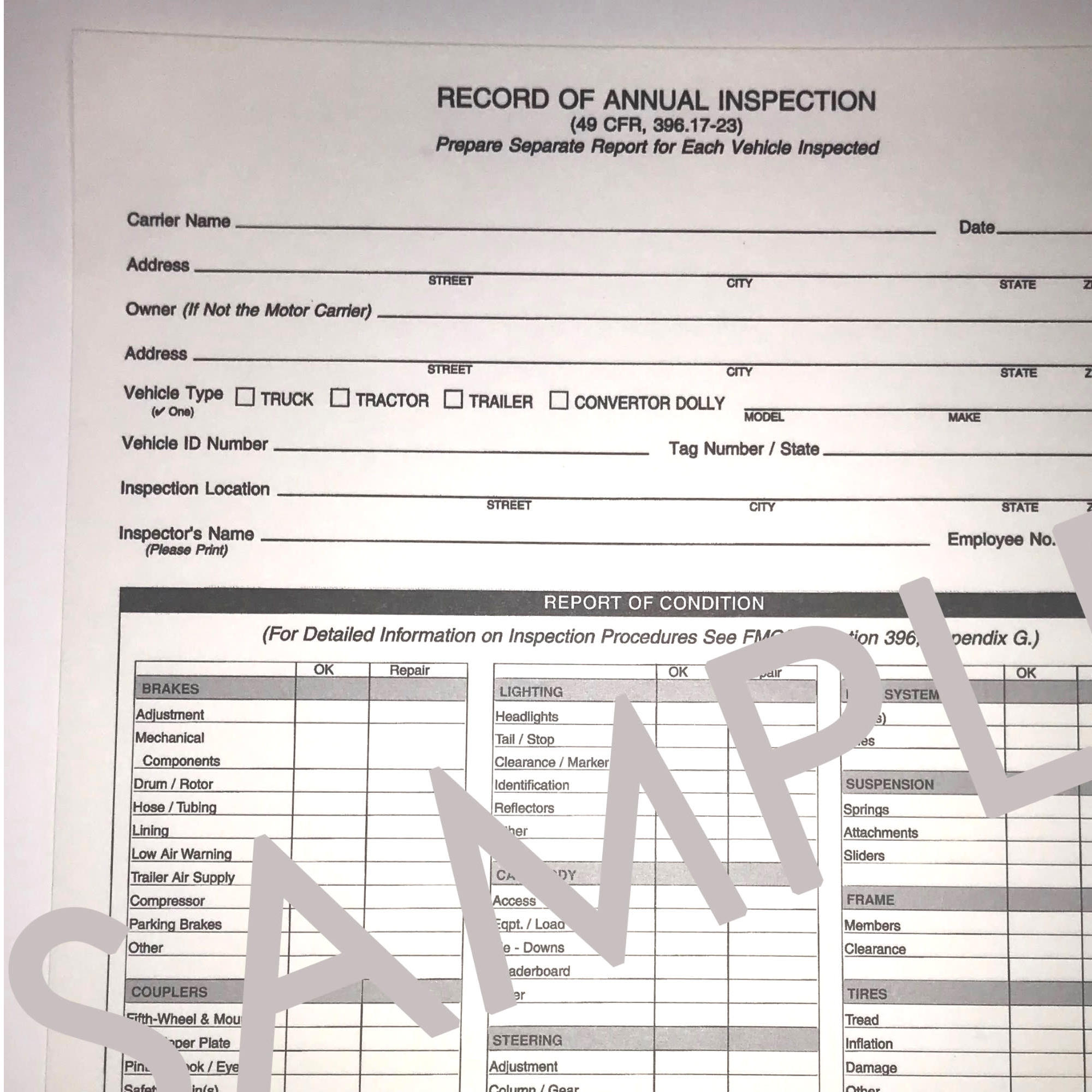 Annual Vehicle Inspection Form