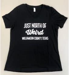 Just North of Weird Black V-Neck provided by WCREALTORS.