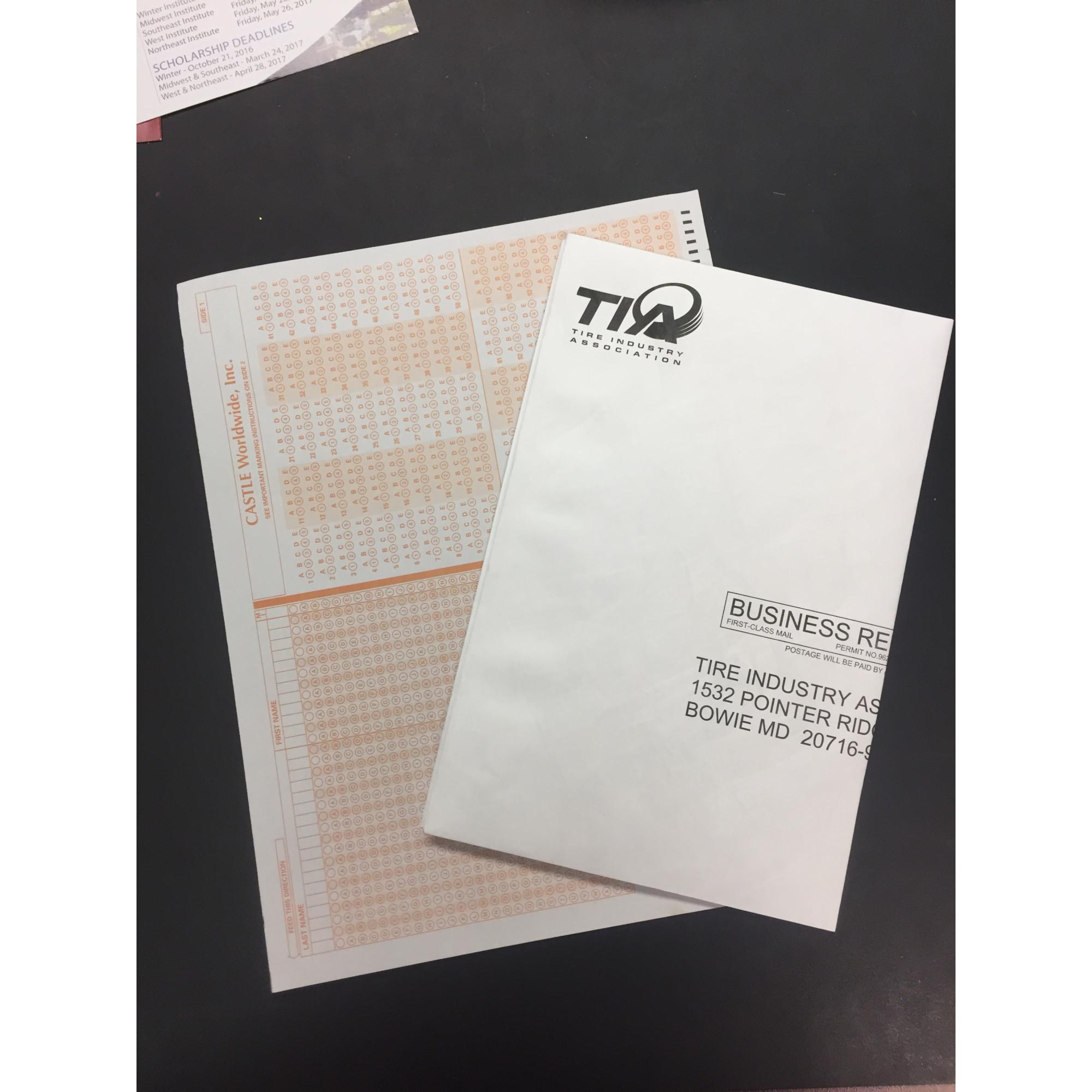 Score sheet and return envelope