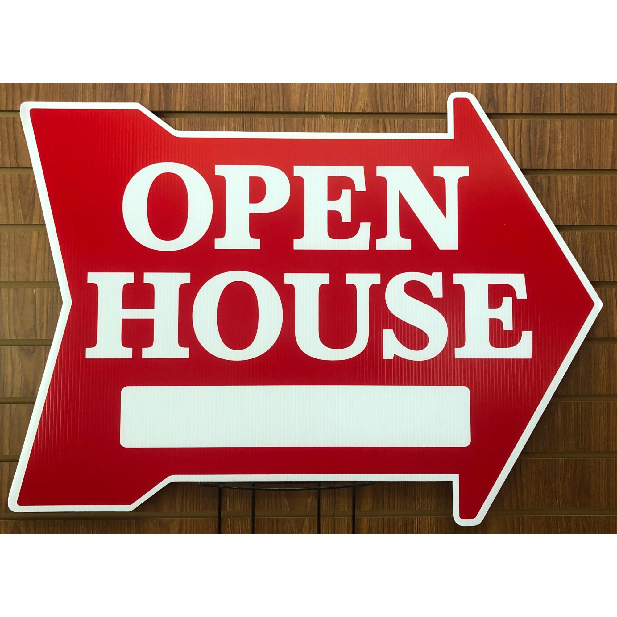 EXTRA LARGE Open House ___ -- Arrow Shape RED provided by WCREALTORS®
