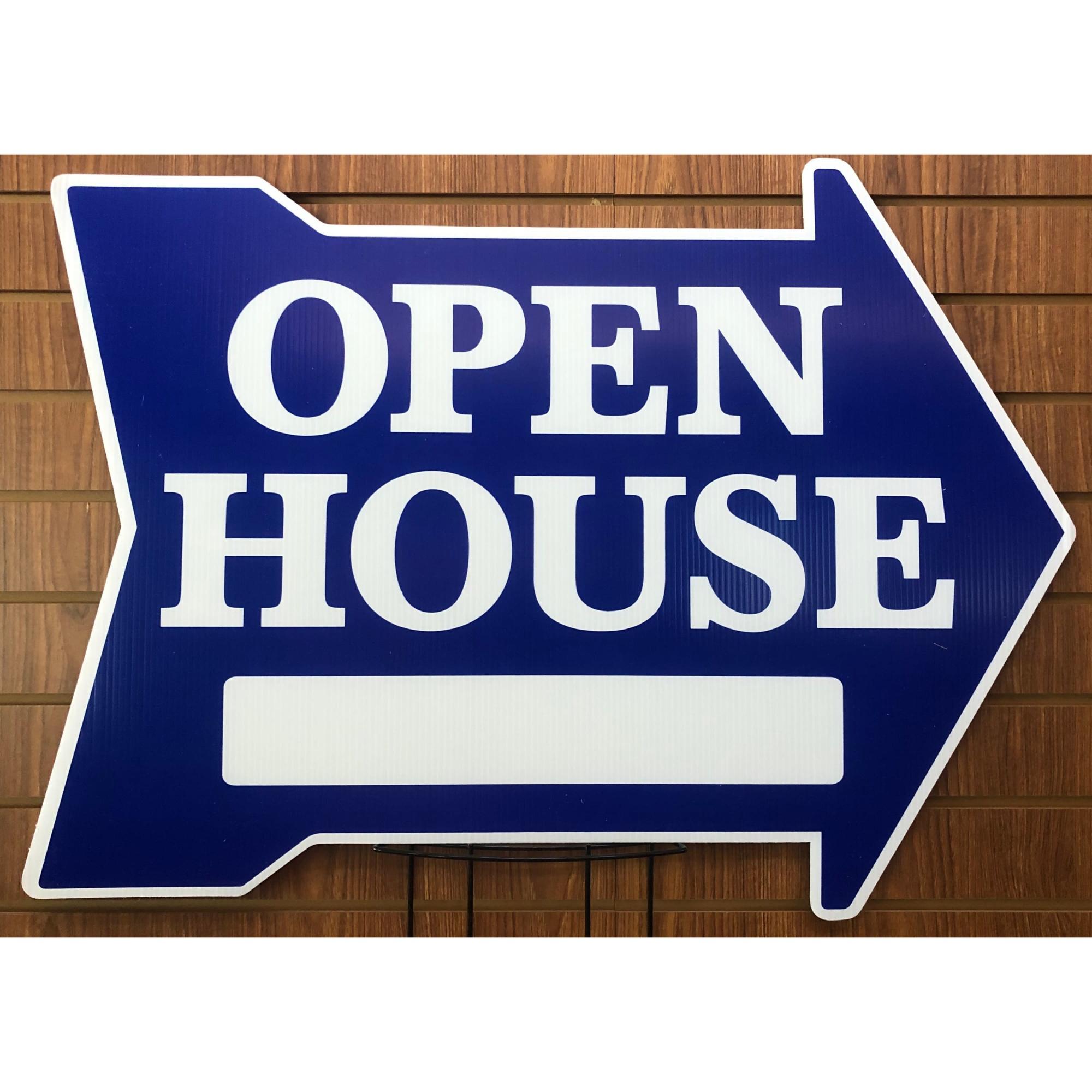 EXTRA LARGE Open House ___ -- Arrow Shape BLUE provided by WCREALTORS