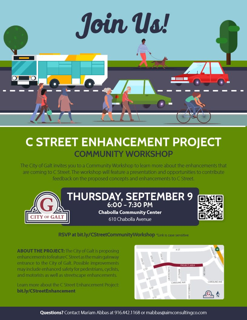 C Street Enhancement Project Community Workshop flyer - Sept 9, 2021 6:00 pm - 7:30 pm at Chabolla Center, 610 Chabolla Ave