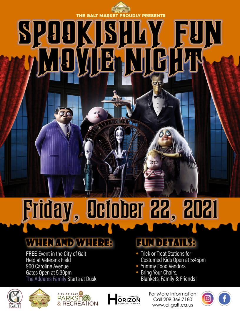 Spookishly Fun Movie Night, Friday, Oct 22, 2021 at Veteran's Field. Activities begin at 5:30, movie begins at dusk.