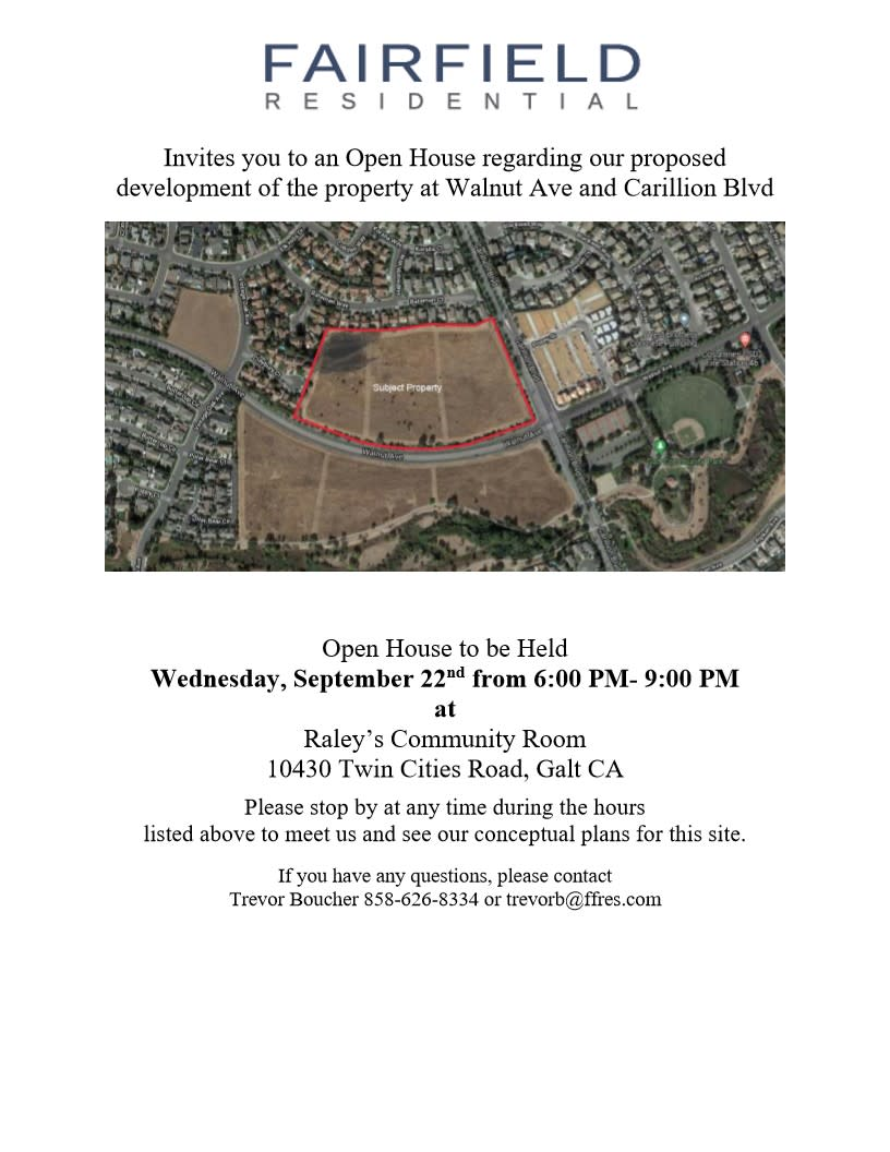 Fairfield Residential Open House - 09/22/2021, 6-9 pm. Raley's Community Rm, 10430 Twin Cities Rd, Galt.