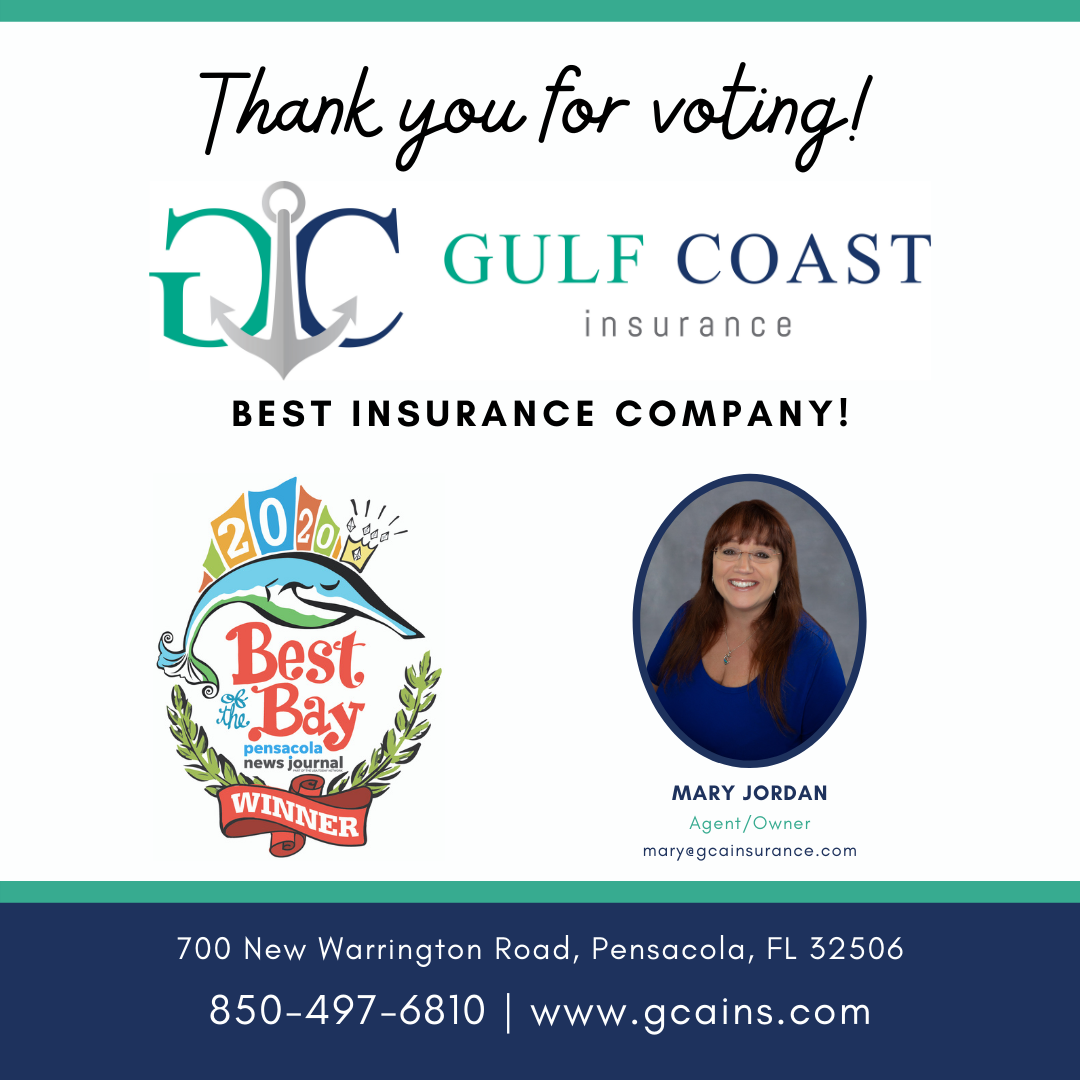 Ad of Gulf Coast Insurance as the 2020 Best of the Bay Best Insurance Company Winner