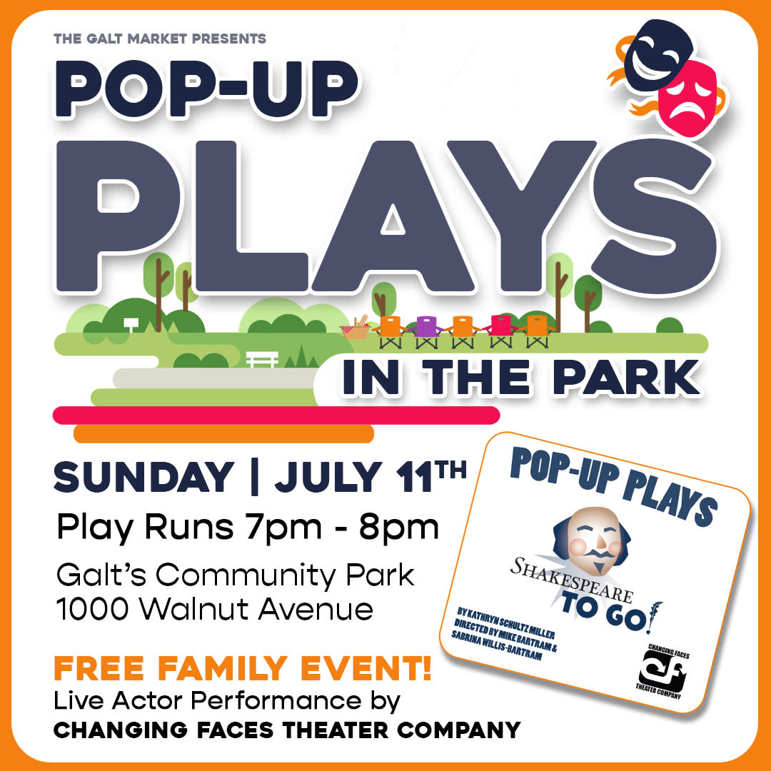 Pop-Up Plays in the Park, live actor performance of Shakespeare To Go by Changing Faces Theater Company