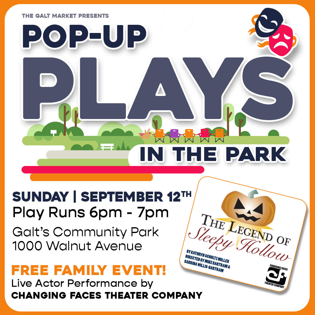 Pop-Up Plays in the Park, live actor performance of The Legend of Sleepy Hollow by Changing Faces Theater Company