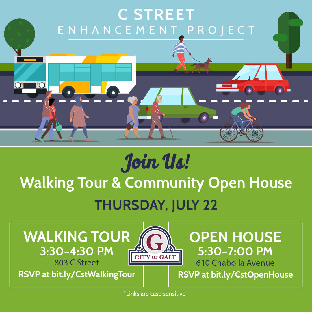C St Project; Walking Tour 3:30 to 4:30 pm meet in Papas & Wings parking lot. Open House 5:30 to 7:30 pm at Chabolla 07/22