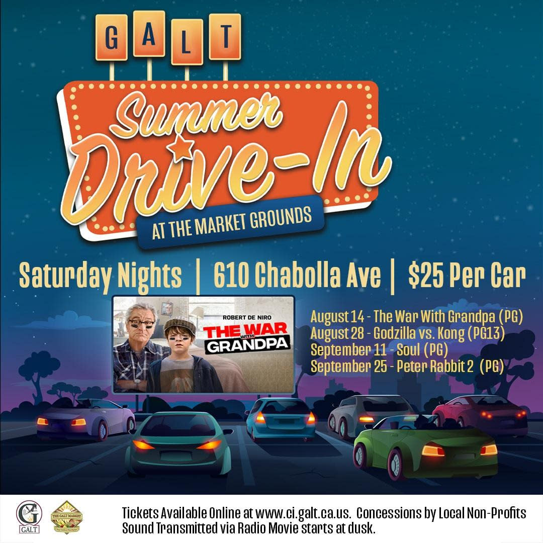Galt Summer Drive-In at the Market Grounds, Saturday nights, 08/14, 08/28, 09/11, 09/25/2021 flyer. Food trucks avail.