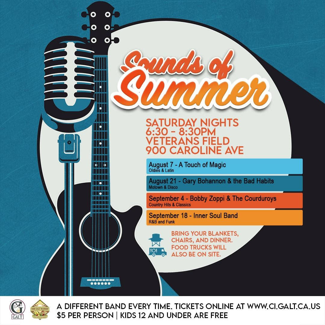 Sounds of Summer flyer. Bands on Saturdays 6:30 - 8:30 pm, 08/07, 08/21, 09/04 & 09/18/2021. Bring blankets, chairs & food.