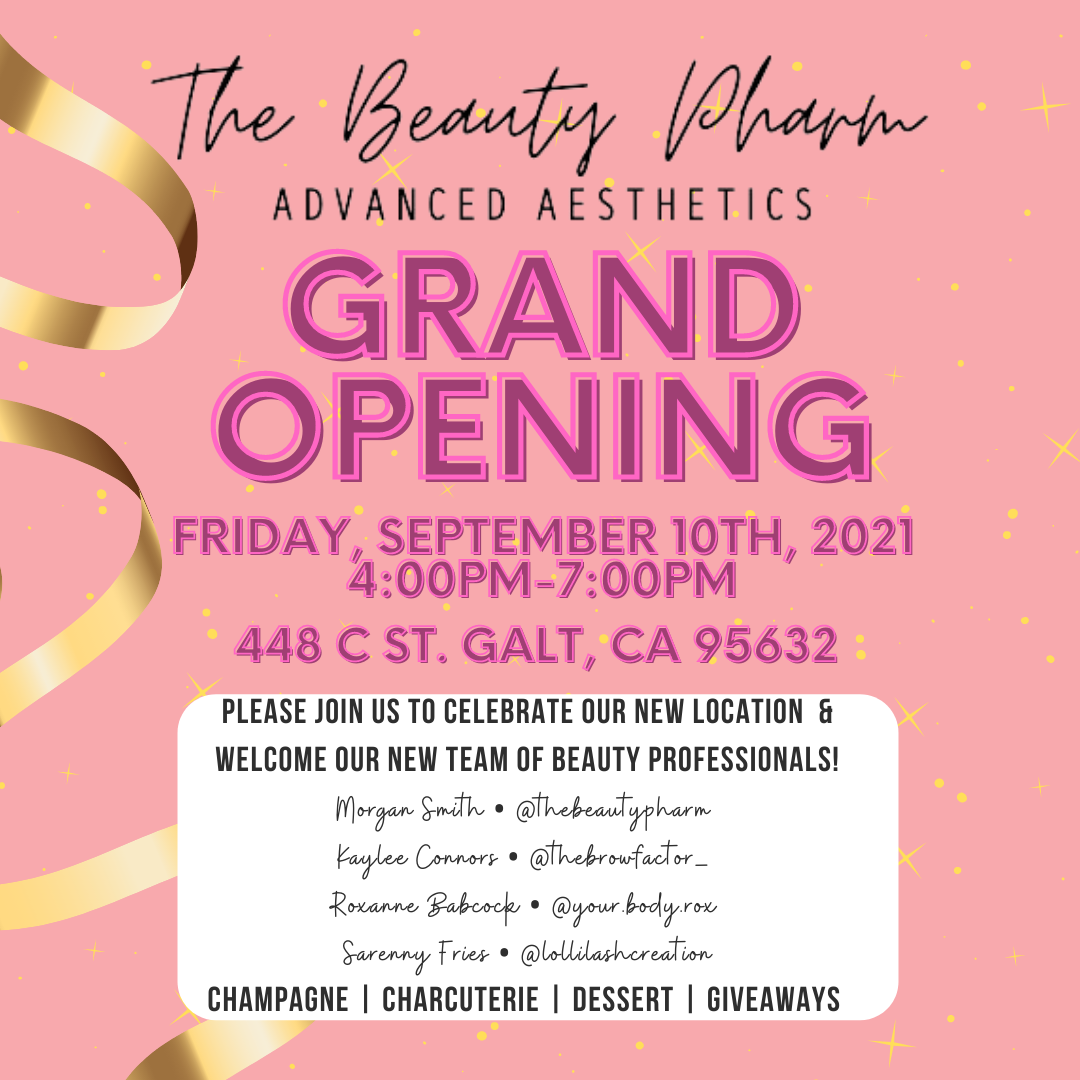 The Beauty Pharm's Grand Opening flyer; Friday, Sept 10, 2021 from 4 - 7 pm.
