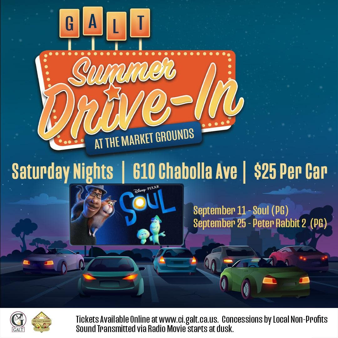 Summer Drive-In, Saturdays, Sept 11 & 25, 2021 $25 per car, at the Market Grounds