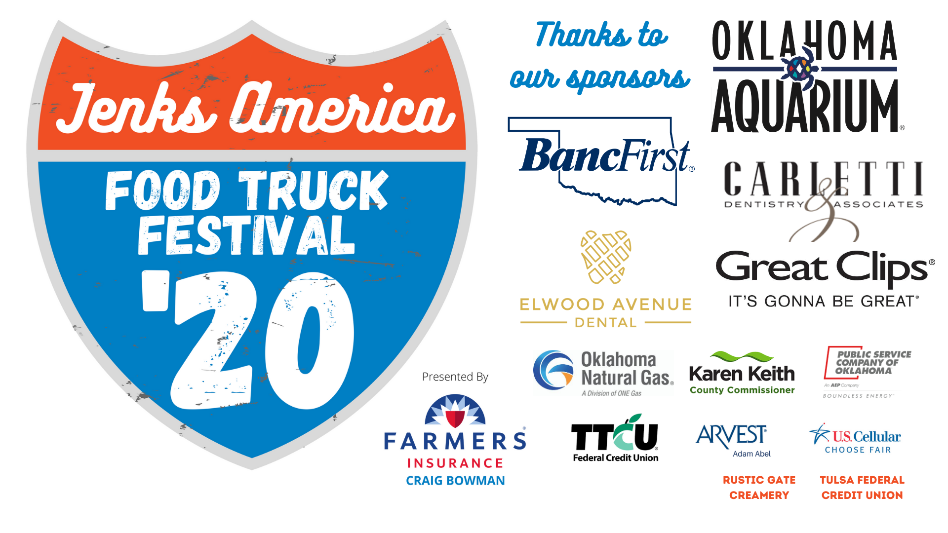 A logo for the Jenks America Food Truck Festival