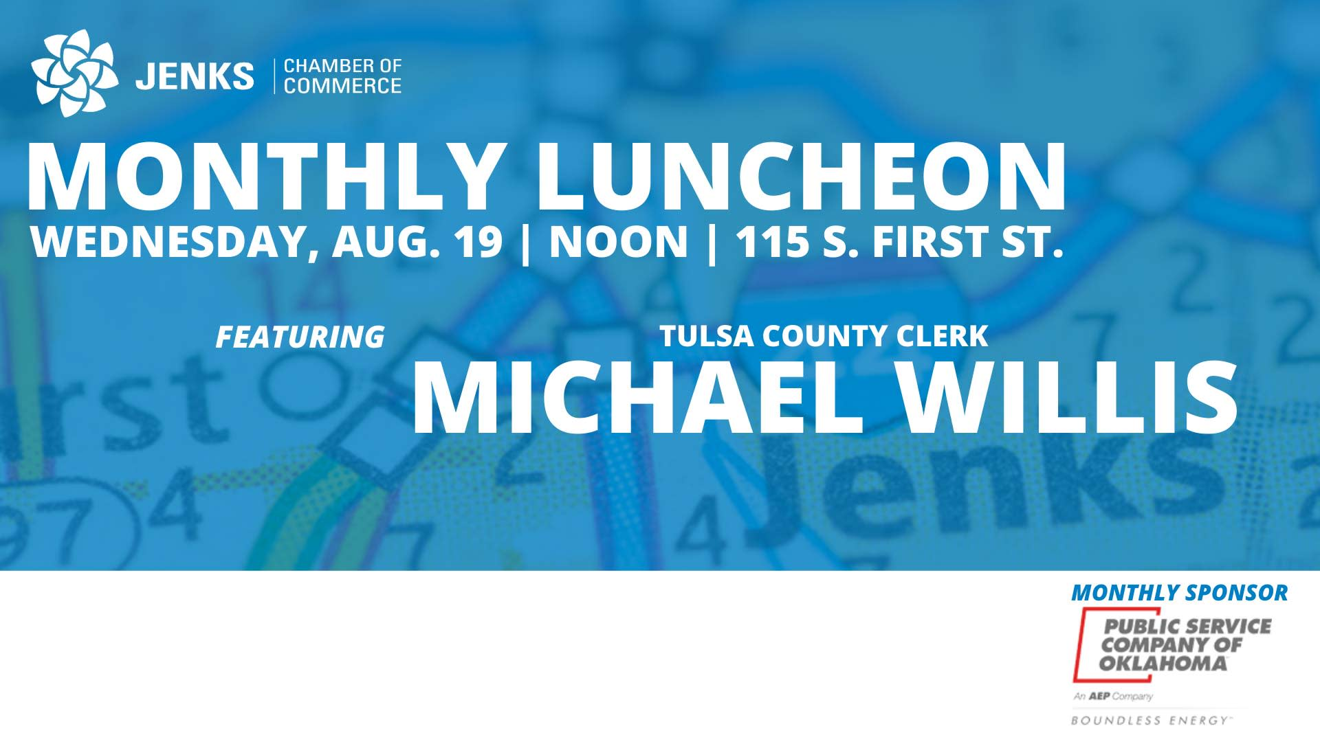 A graphic for the 2020 August Monthly Luncheon.
