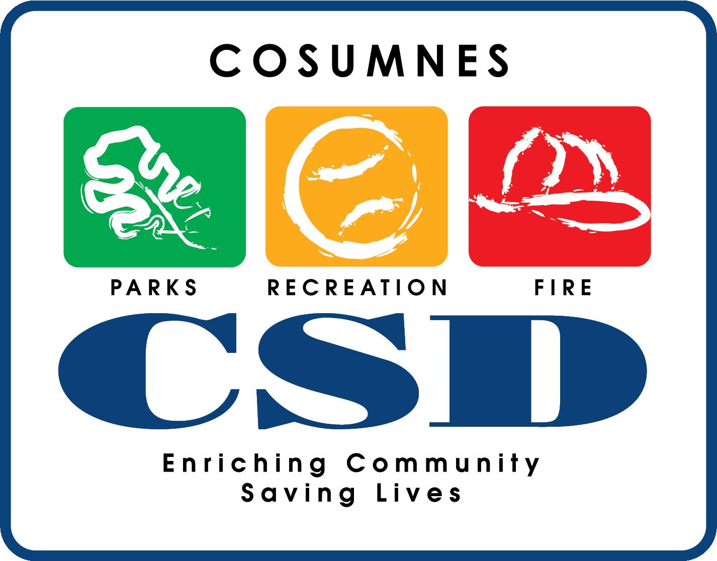 Cosumnes CSD Logo, Parks, Recreation, Fire, Enriching Community, Saving Lives