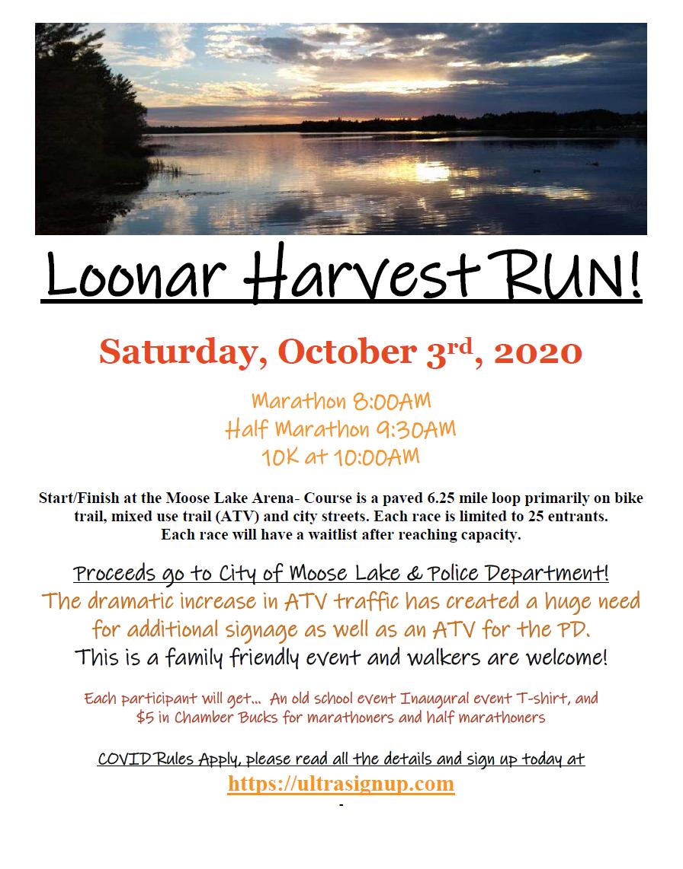 Loonar Harvest Run flyer