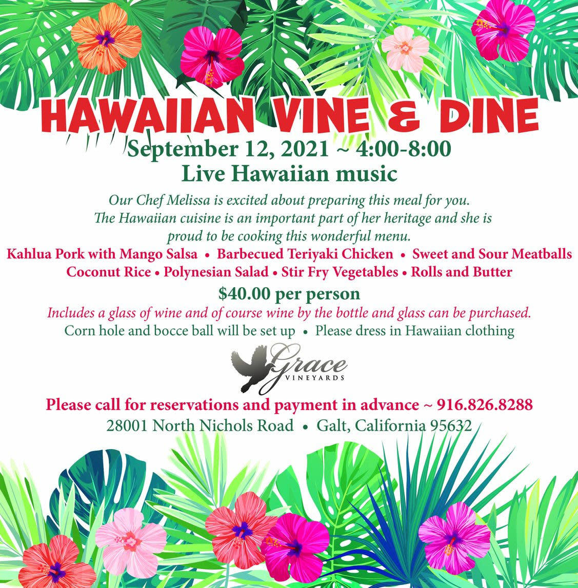 Grace Vineyards Hawaiian Vine & Dine flyer - September 12 2021 from 4:00 pm to 8:00 pm $40 per person
