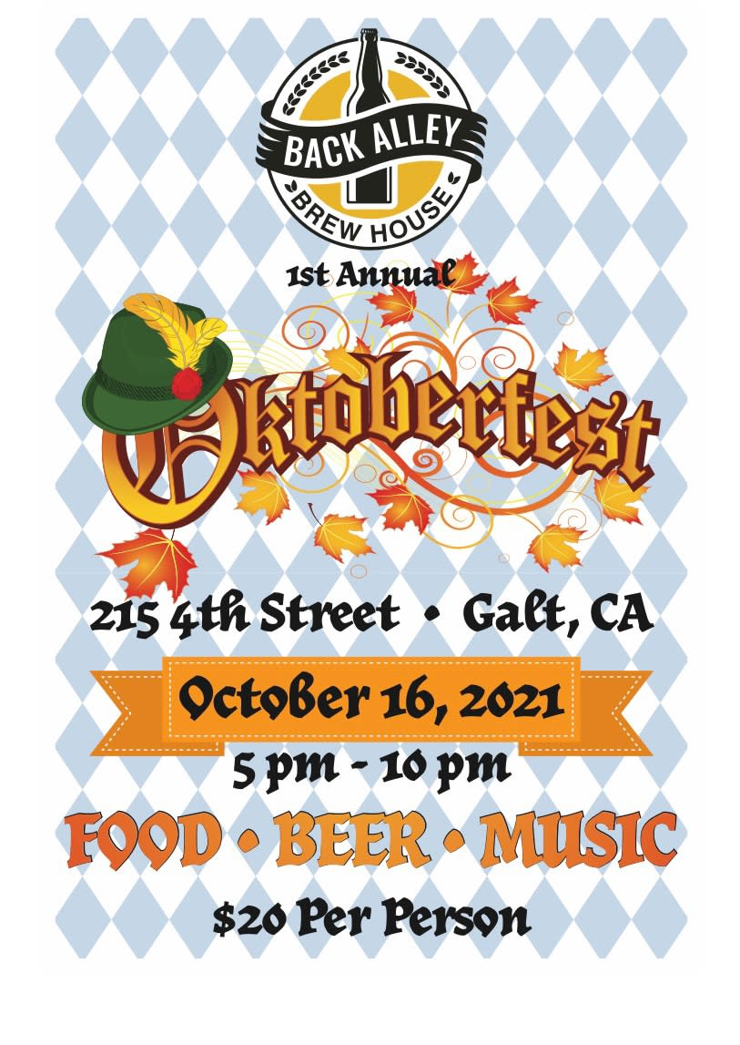 Back Alley Brew House - 1st Annual Oktoberfest, 10/16/21, 5-10 pm, 215 4th St. Food, beer & music. $20 per person.