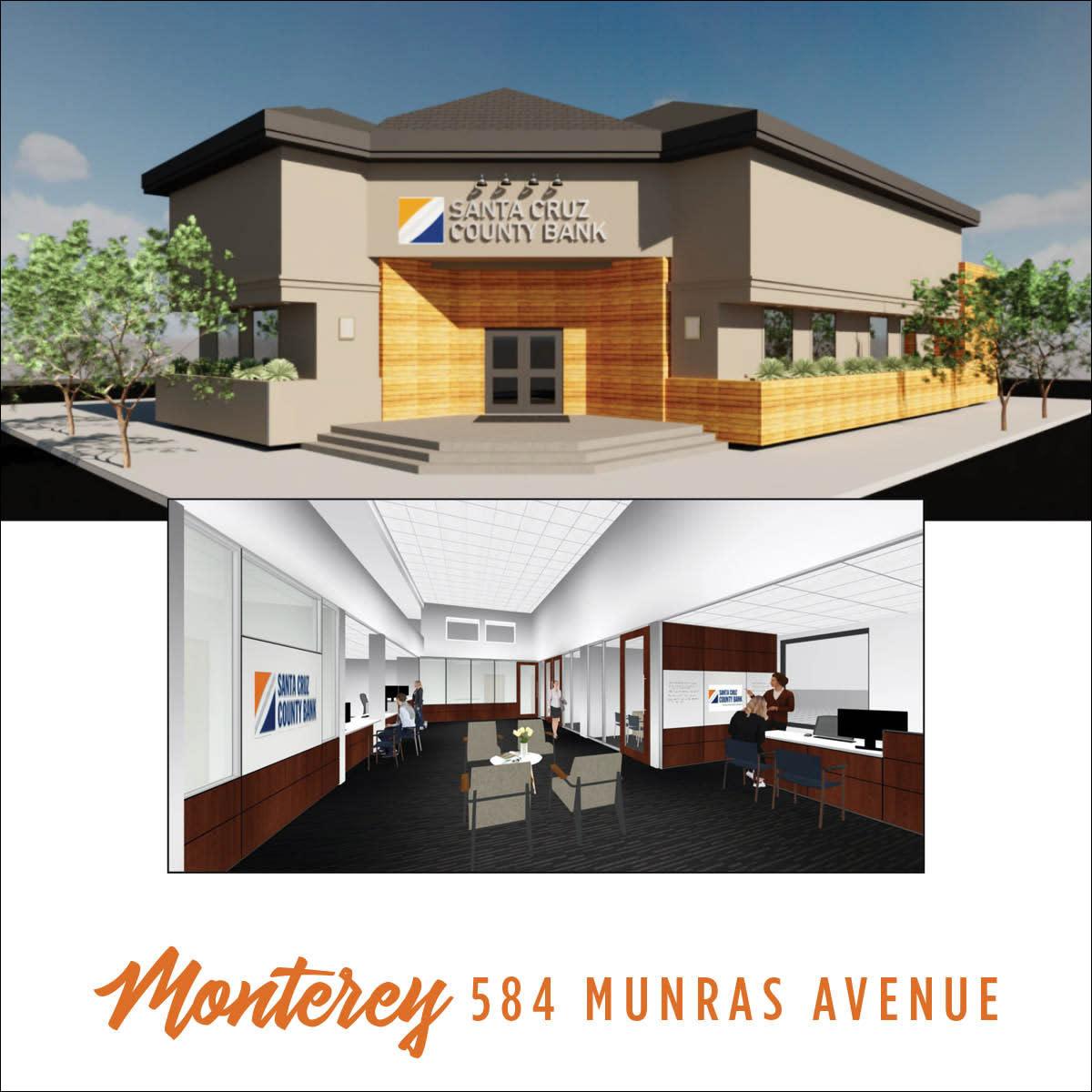 Santa Cruz County Bank Monterey Branch Illustration of Exterior and Interior