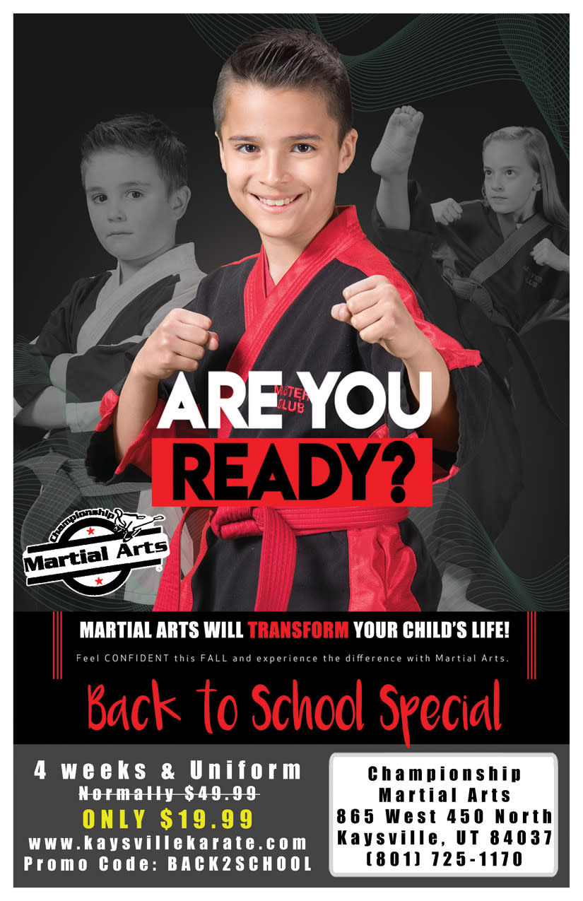 Championship Martial Arts | Kaysville Cares Ad