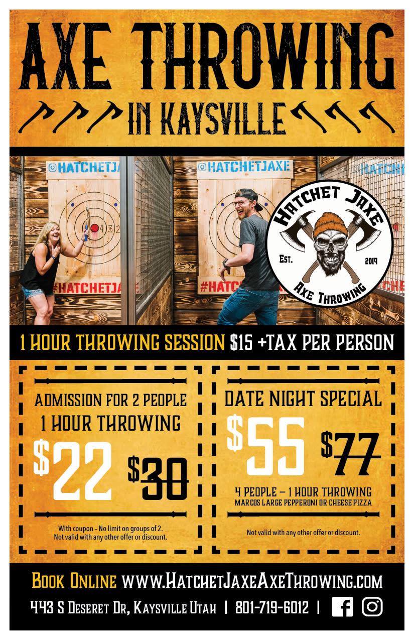 Hatchet Jaxe Axe Throwing | Kaysville Cares Ad