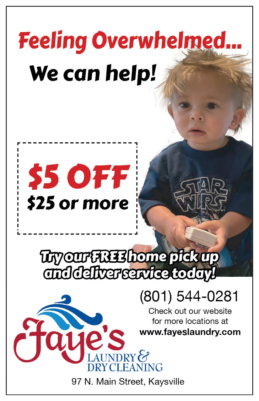 Faye's Laundry and Dry Cleaning | Kaysville Cares Ad