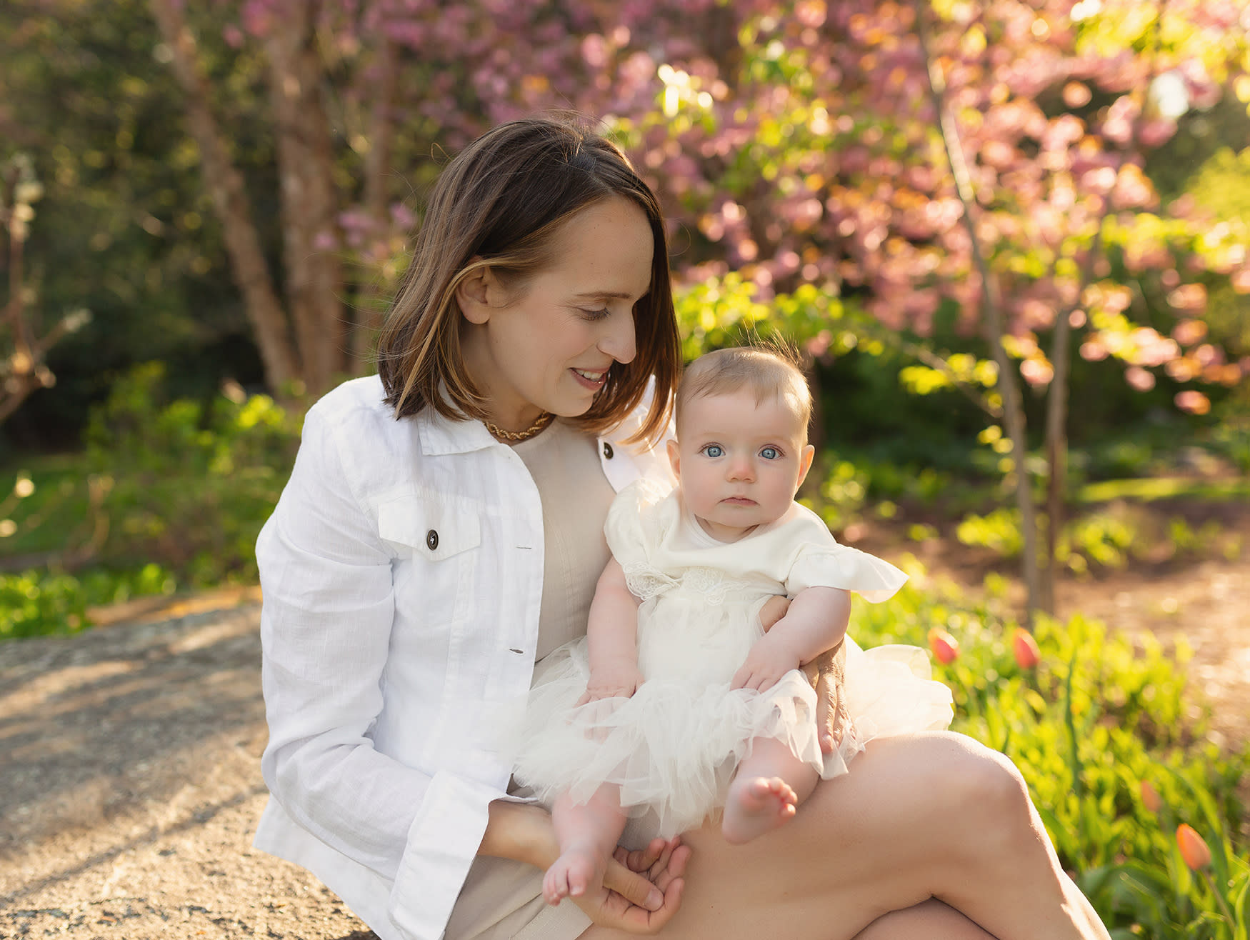 Infant on mother's lap