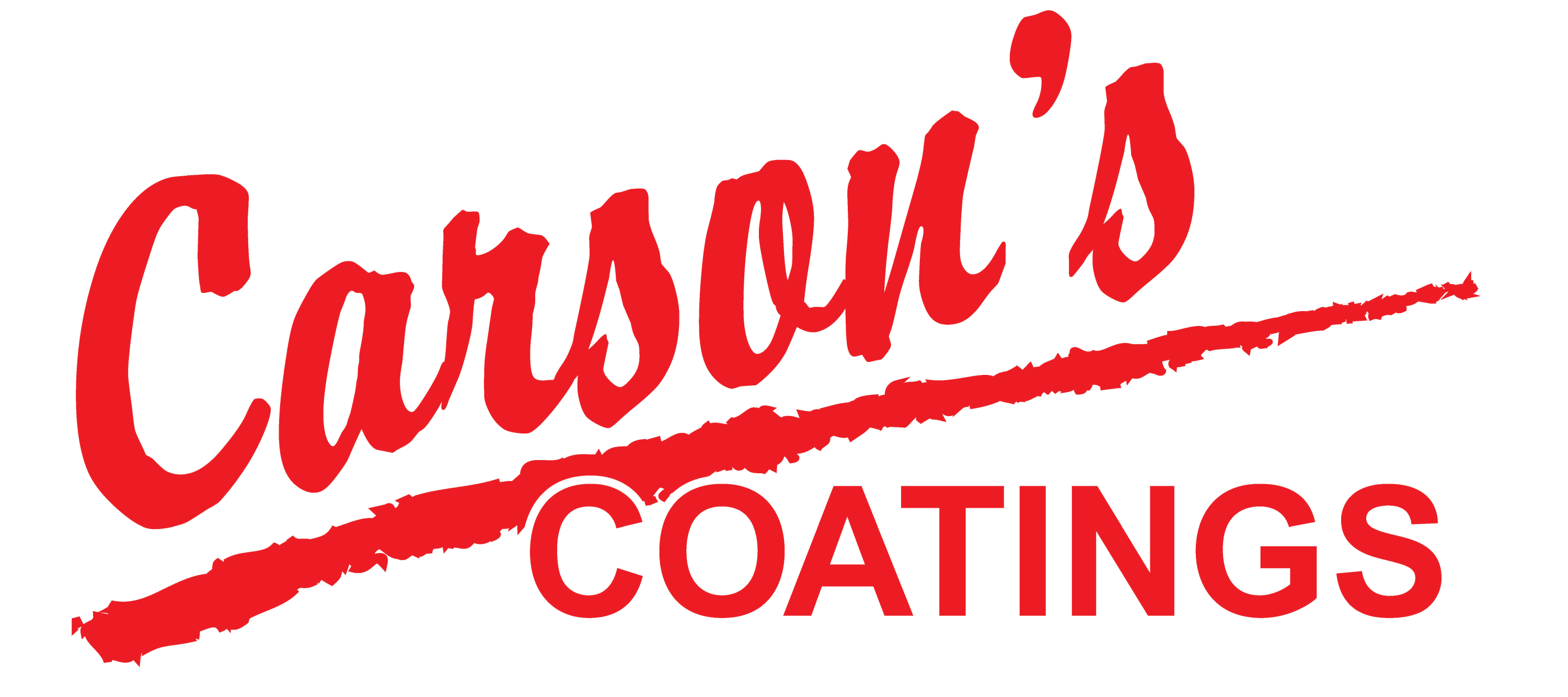 Carson's Coatings logo, white background w/red letters - 2021