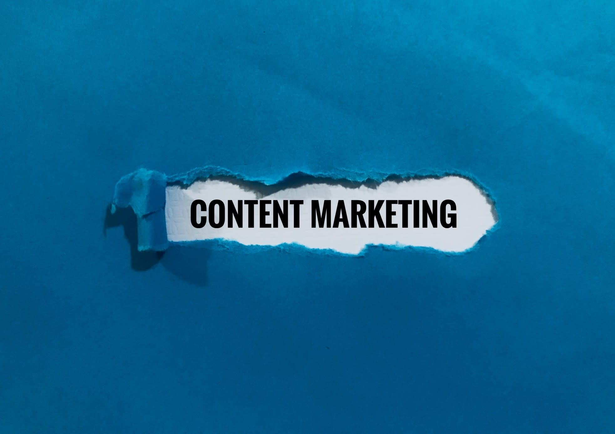 content marketing in a blue box