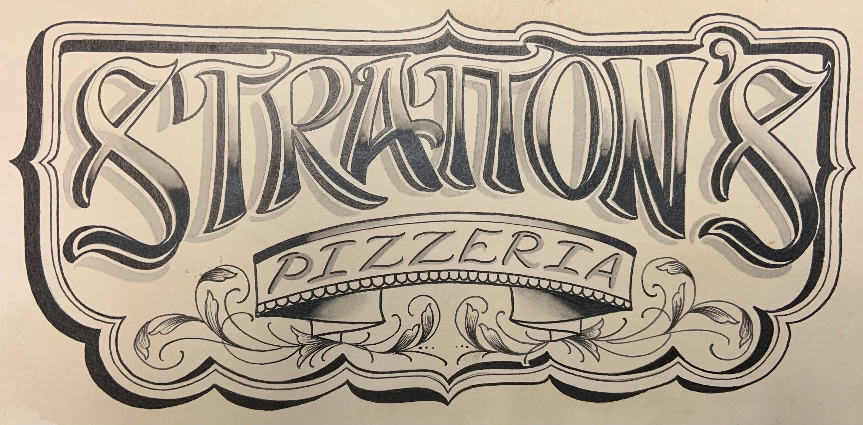 "Stratton's Pizza logo ""Stratton's Pizzeria"""