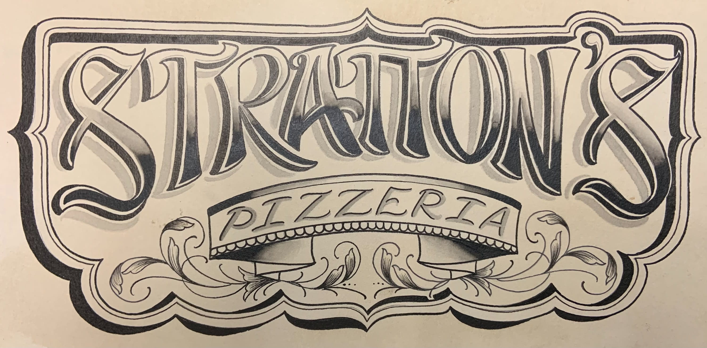 Stratton's Pizzeria logo - hand sketched in black with yellow-ish background