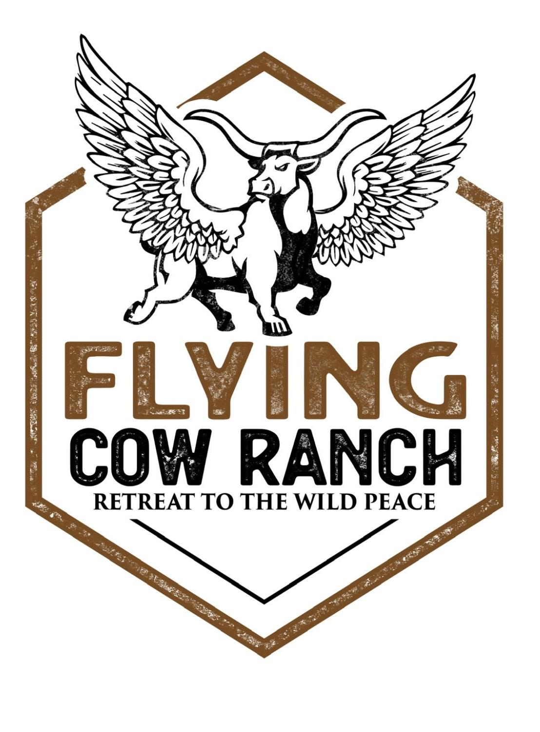 logo with cow and text flying cow ranch retreat to the wild peace