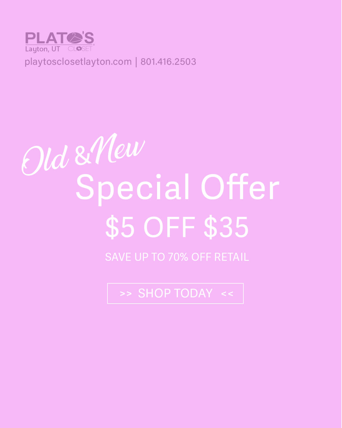 Coupon for $5 off $35 at Plato's Closet