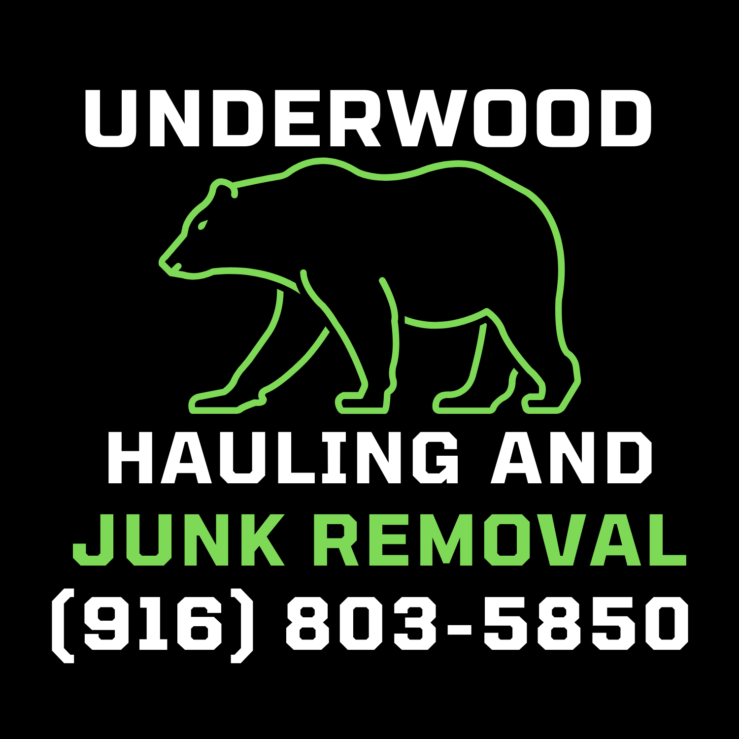 Underwood Hauling and Junk Removal logo - July 16, 2021