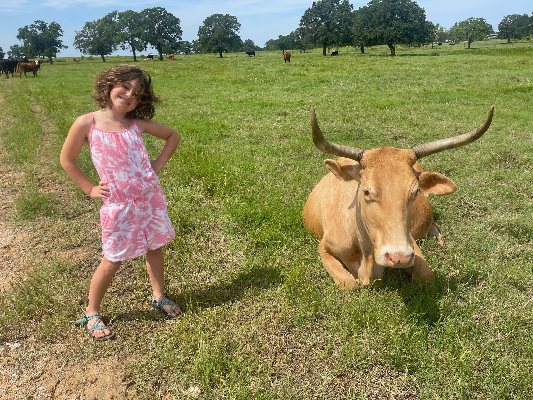 girl standing next to cow