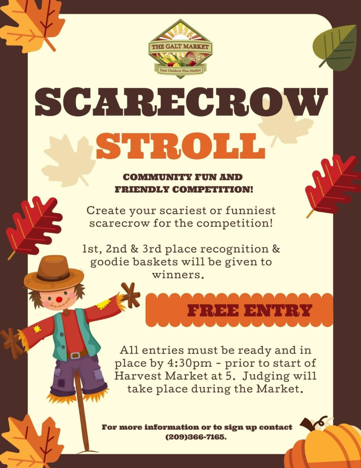 Scarecrow Stroll, Sat., 10/01/21, 4:30pm-8pm, create your scariest or funniest scarecrow, free entry, prize for top 3.