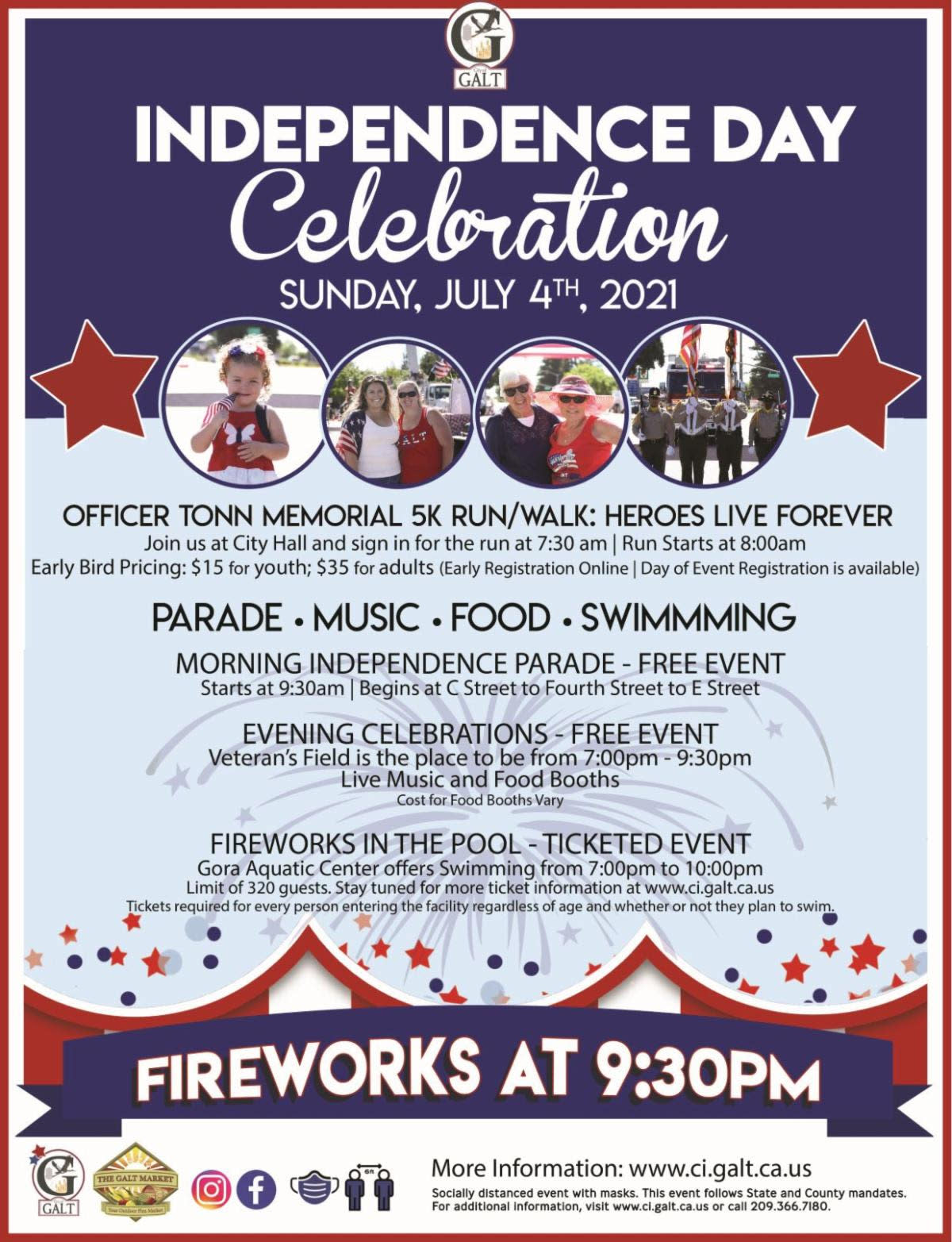 City of Galt Independence Day Celebration flyer - July 4 2021
