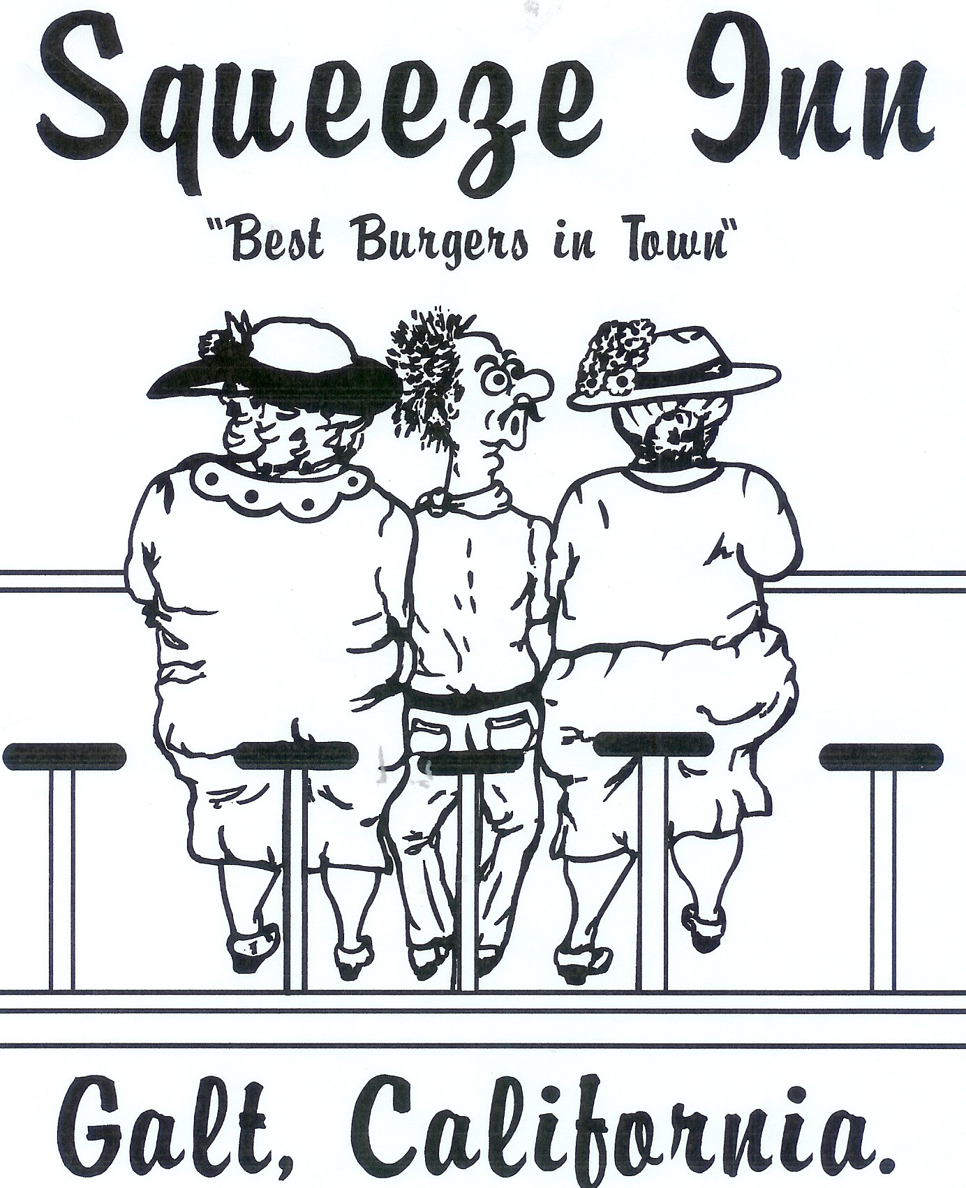 """Squeeze Burger logo, """"Squeeze Inn 'Best Burgers in Town' Galt, California"""" with caricature of three people sitting"""