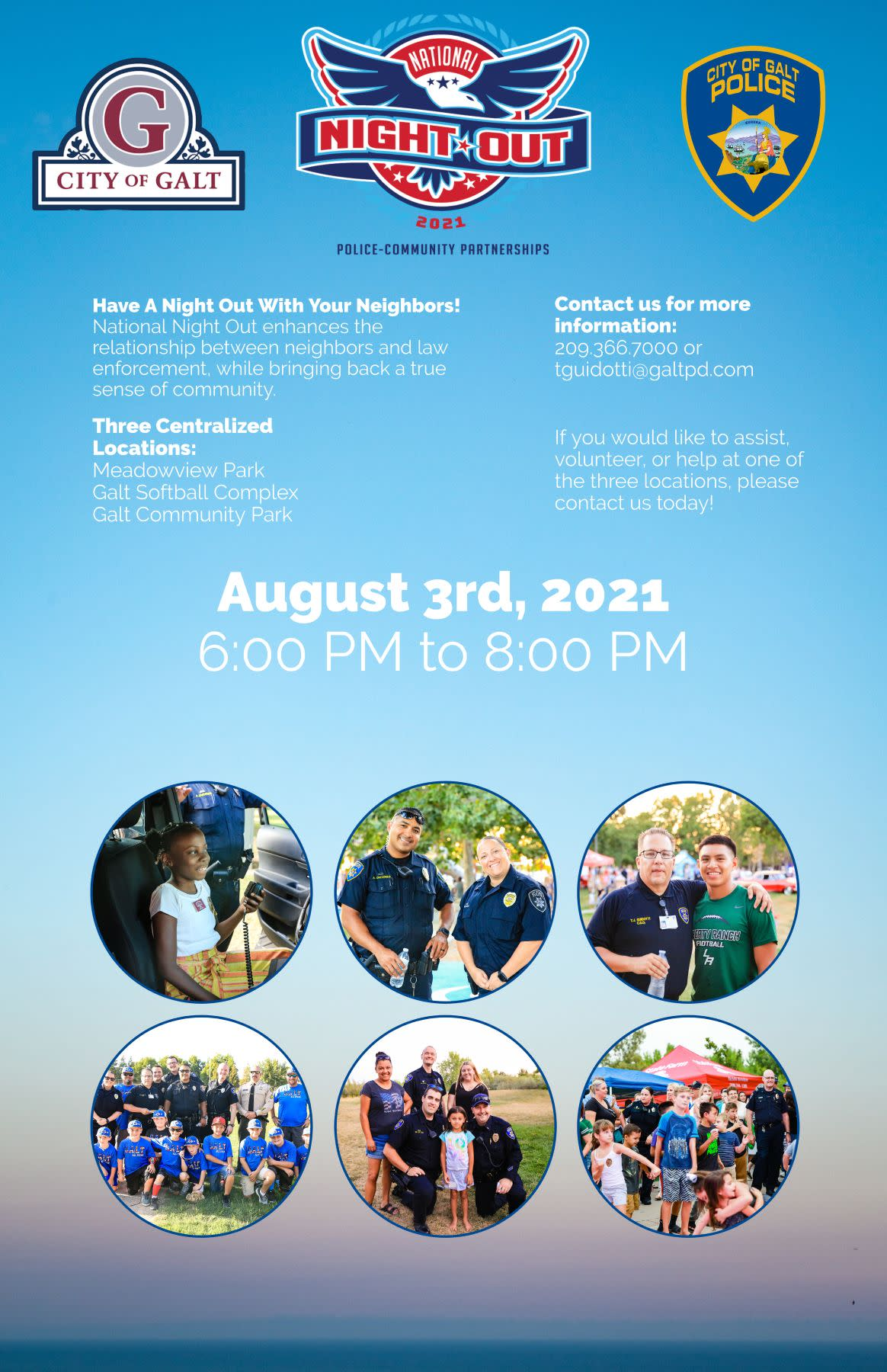 National Night Out flyer - August 3rd from 6:30 to 8:30 pm