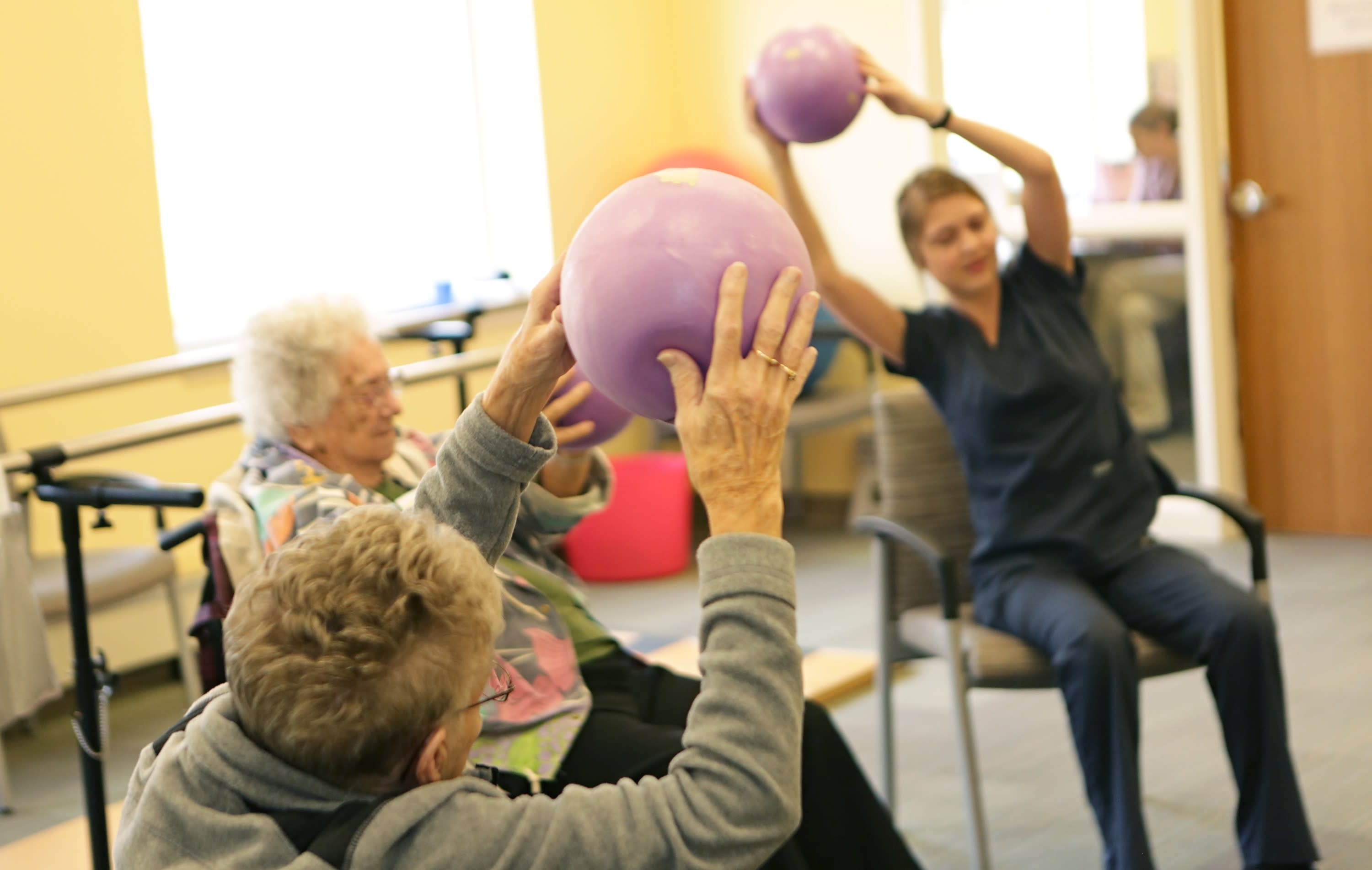 Physical and Occupational Therapists lead group sessions to maintain the strength needed for seniors to live at home.