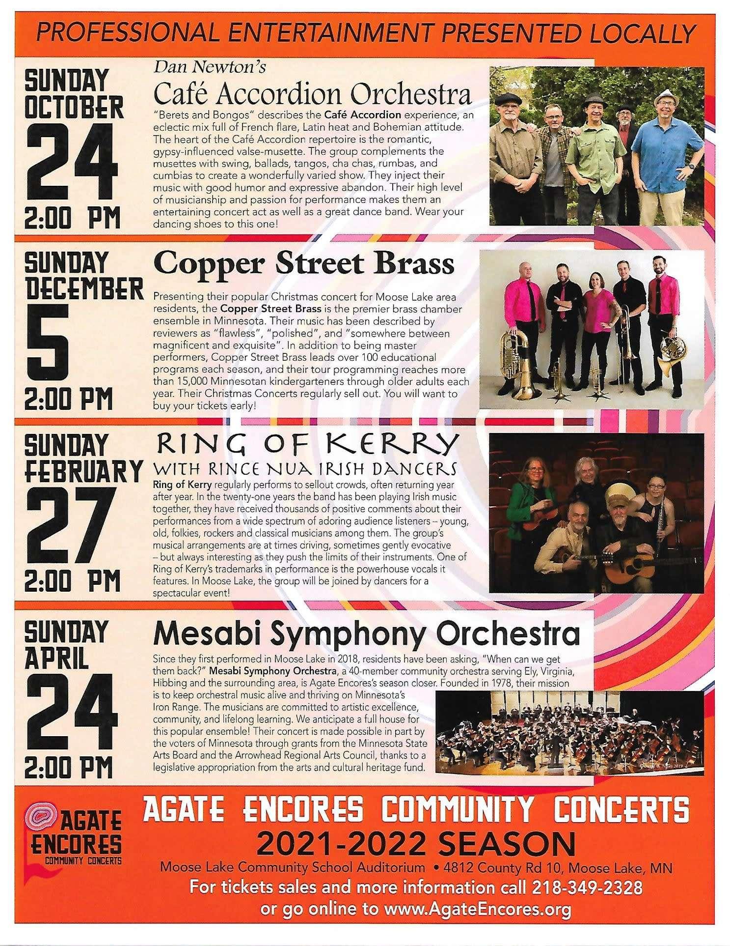 agate encores concert series flyer