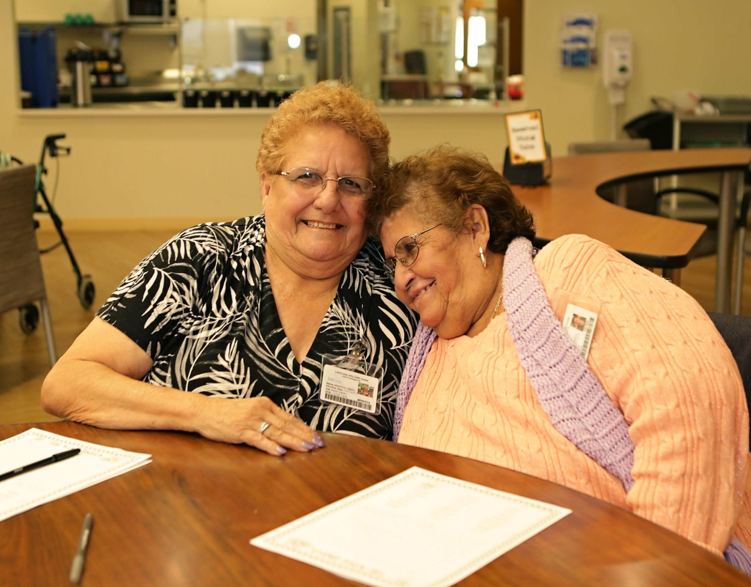 Seniors who participate in LifeCircles PACE program share a moment of fun at the senior day center.